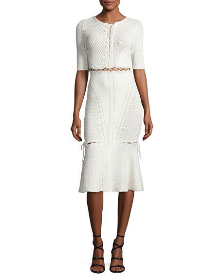 Jonathan Simkhai Lace-Up Knit Midi Dress, Ivory