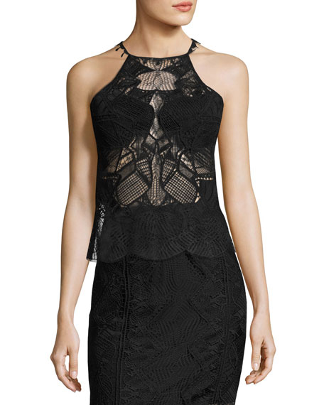 Jonathan Simkhai Sleeveless Lace Scalloped-Edge Top, Black