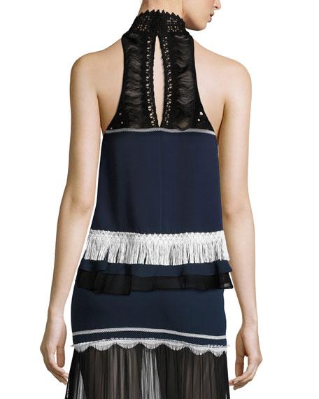 Tiered Fringe Sleeveless Silk Top
