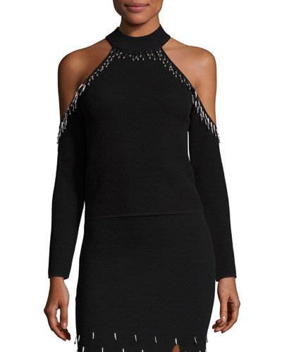 Beaded Knit Cold-Shoulder Top