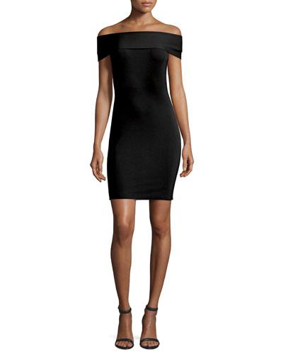 Off-the-Shoulder Fitted Ponte Dress, Black
