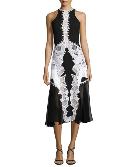 Jonathan Simkhai Lace-Appliqué Contoured Midi Dress