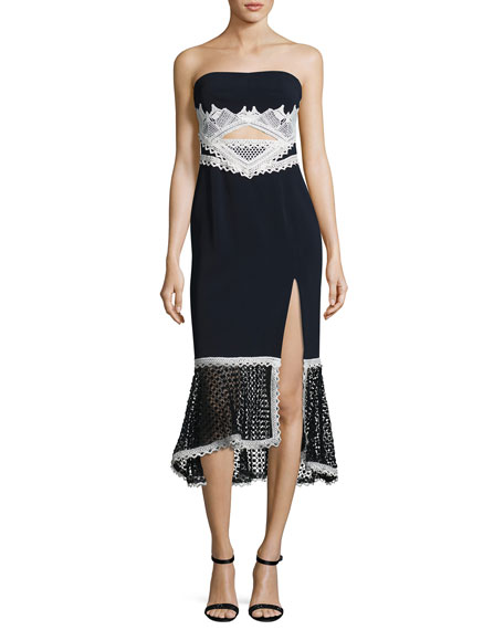 Jonathan Simkhai Windowpane-Lace Strapless Midi Dress