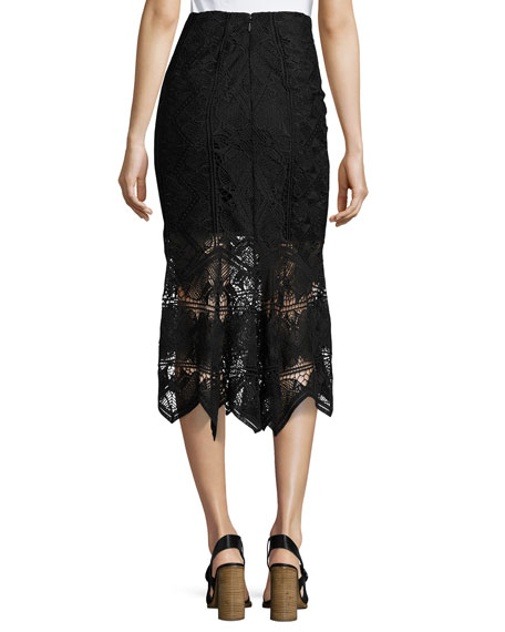 Lace Midi Pencil Skirt, Black