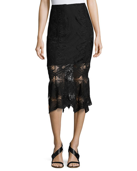Jonathan Simkhai Lace Midi Pencil Skirt, Black