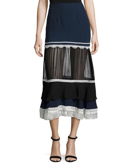 Jonathan Simkhai Tiered Fringe Silk Midi Skirt