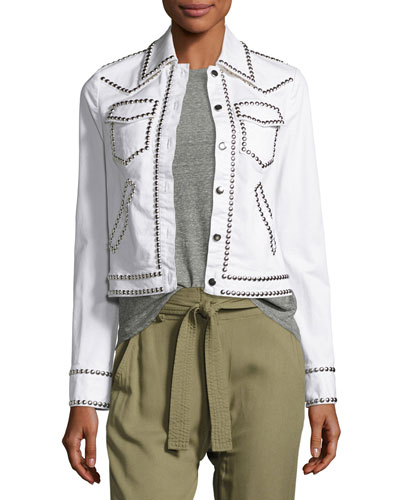 Hayden Studded Stretch Denim Jacket, White