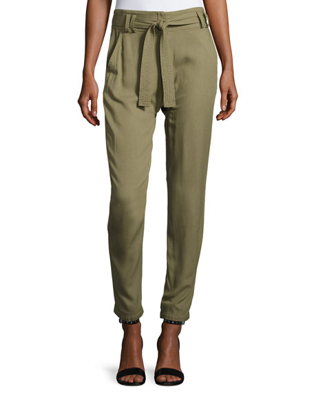 A.L.C. Ansel Belted Twill Straight-Leg Pants, Army
