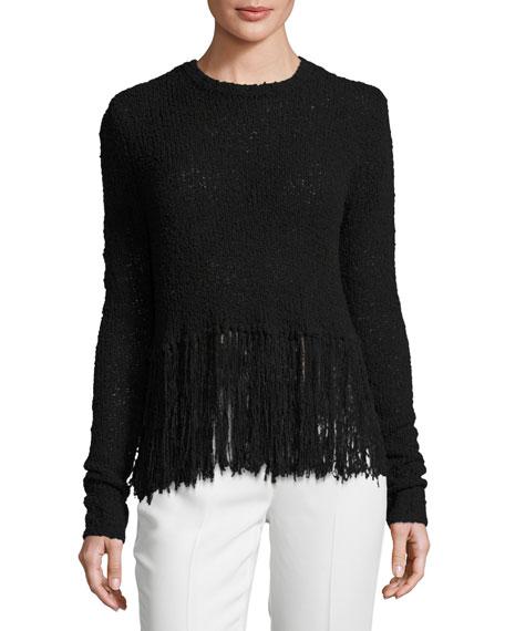 A.L.C. Overlap-Back Fringe Sweater, Black