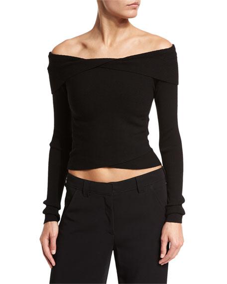 Rayne Cropped Overlap Ribbed Sweater, Black