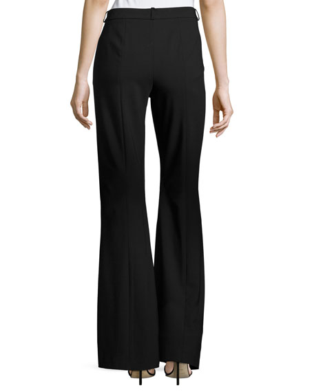 Stretch Wool Flare Pants, Black