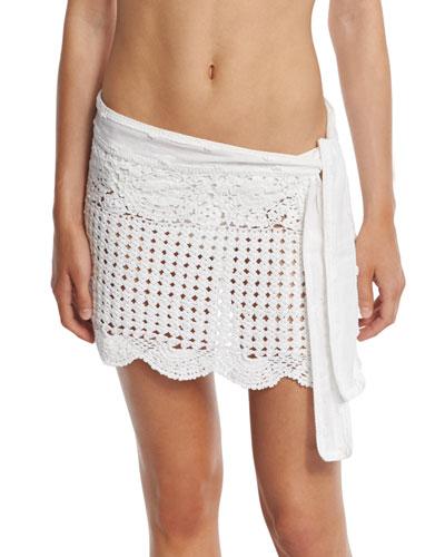 Crocheted Coverup Miniskirt, White
