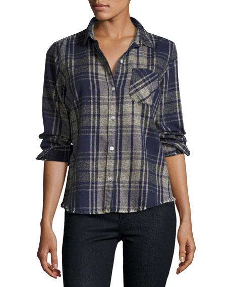Current/Elliott The Slim Boy Shirt with Frayed Hem,
