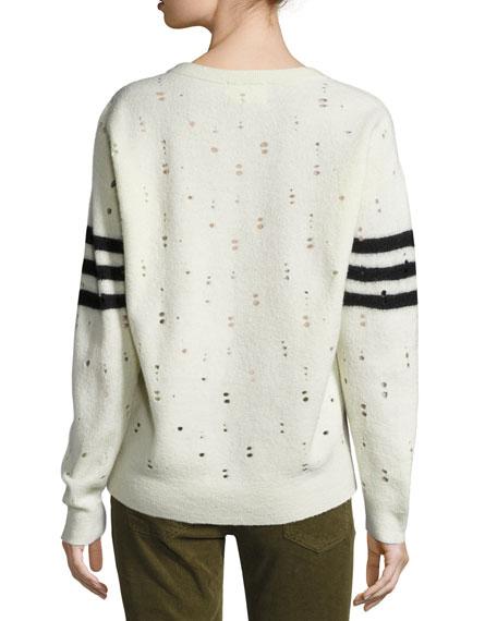 The Crew Neck Destroyed Sweater, Cream Needle