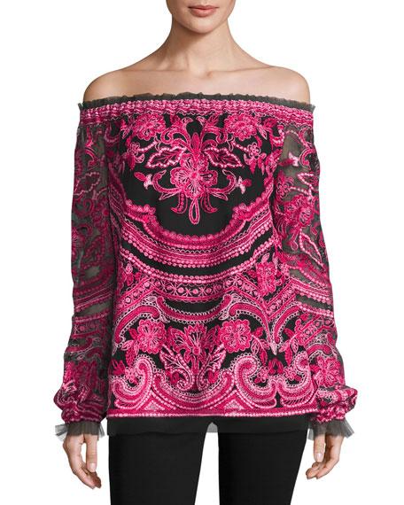 Naeem Khan Embroidered Off-the-Shoulder Long-Sleeve Blouse,