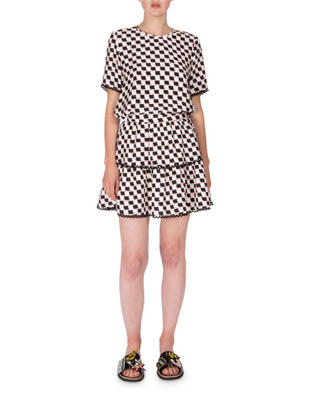 Silk Jacquard Scalloped Check Skirt, White