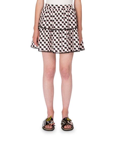 Kenzo Silk Jacquard Scalloped Check Top & Skirt