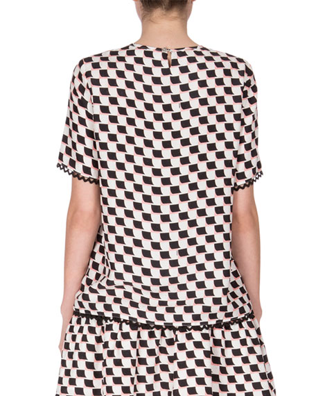 Silk Jacquard Scalloped Check Top, White