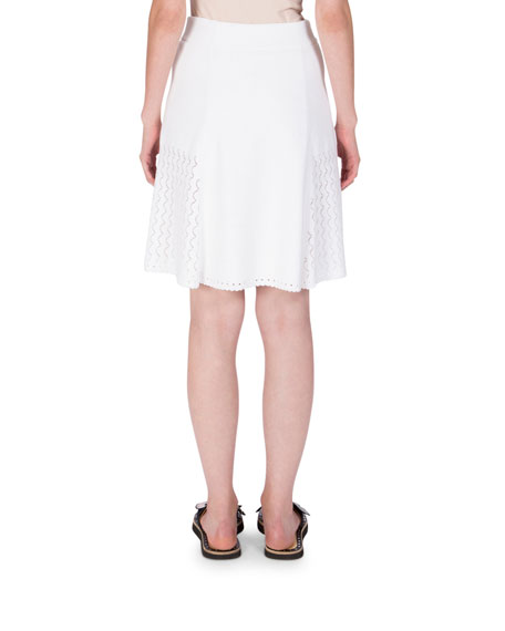 Scalloped Knit A-Line Skirt, White