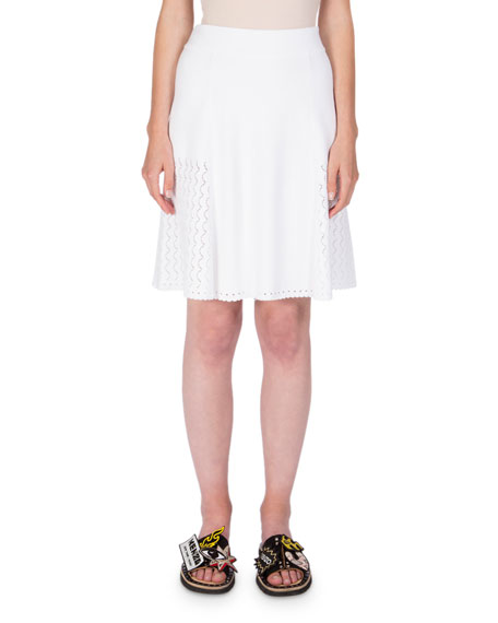 Kenzo Scalloped Knit A-Line Skirt, White
