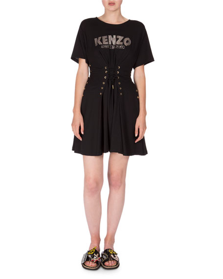 Kenzo Short-Sleeve Laced Fit-and-Flare Dress, Black