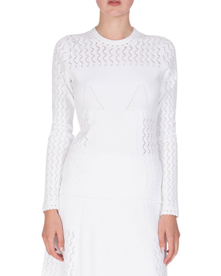 Kenzo Long-Sleeve Scalloped Knit Sweater, White