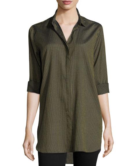 Striped Oversized Shirt, Navy Gold