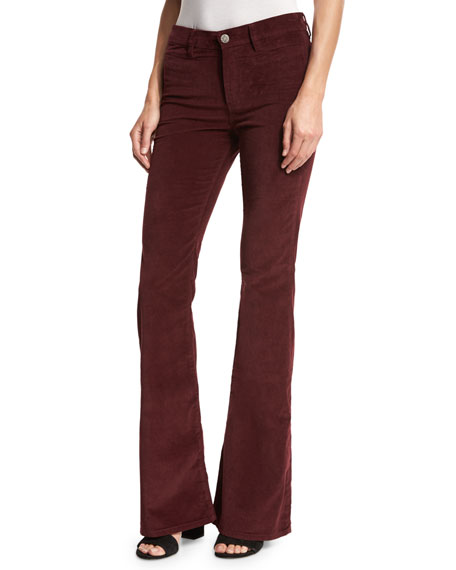 MiH Marrakech Velvet High-Rise Kick-Flare Jeans, Burgundy