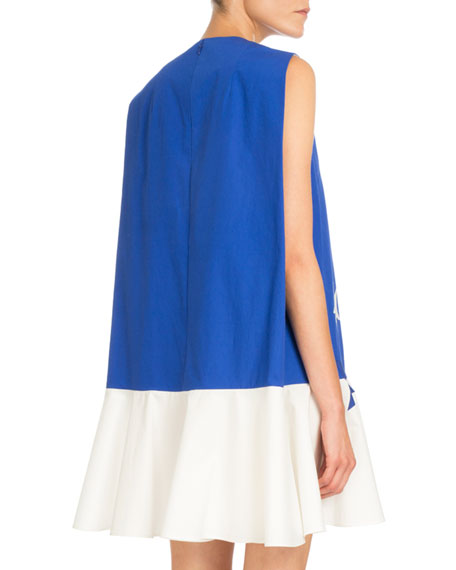 Sleeveless Bicolor Star-Print Dress, Klein Blue