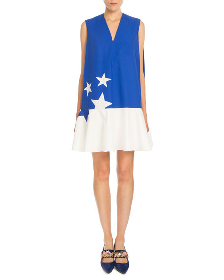 Delpozo Sleeveless Bicolor Star-Print Dress, Klein Blue