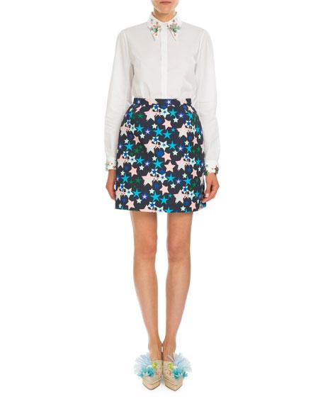 Classic Star-Print Skirt, Blue Star