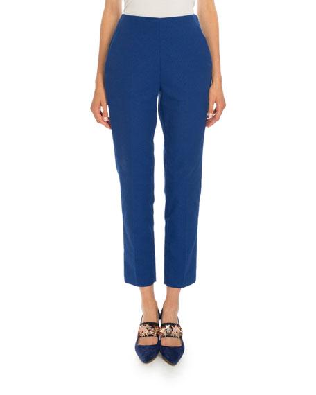 Delpozo Cropped Straight-Leg Pants, Sapphire Blue