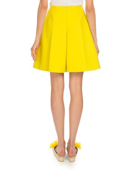 Flared Cotton Bermuda Shorts, Yellow