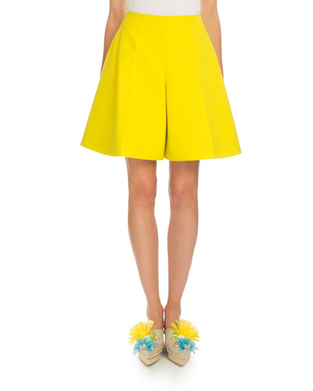 Flared Cotton Bermuda Shorts, Yellow