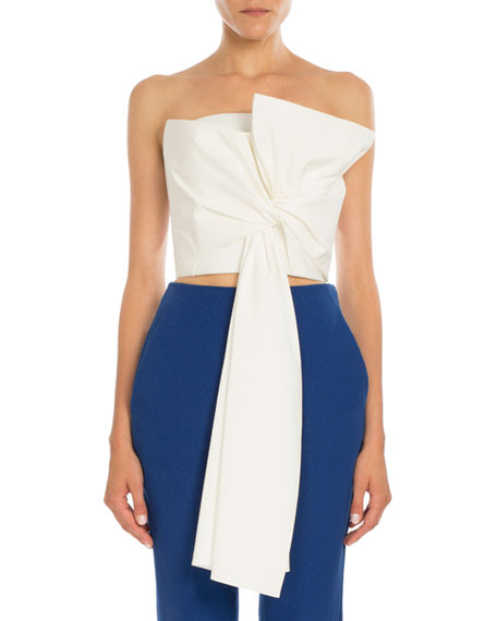 Strapless Tie-Front Poplin Top, Natural White