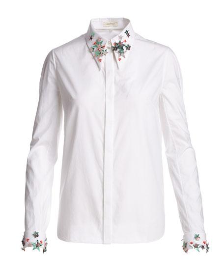 Star-Trim Cotton Blouse, White