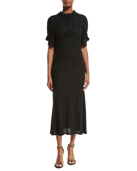 Michael Kors High-Neck Silk Georgette Dress