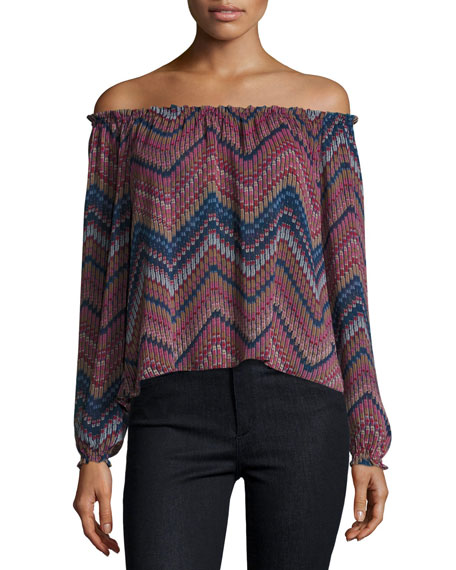 MISA Los Angeles Francesca Printed Off-the-Shoulder Top
