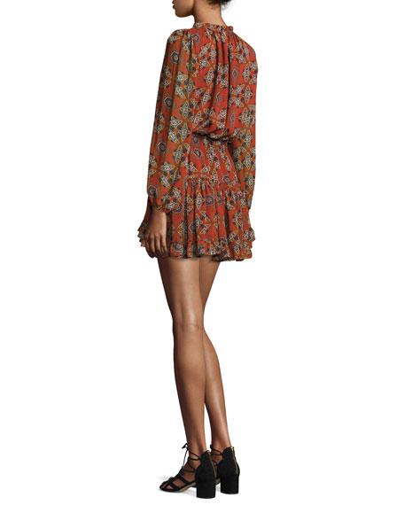 Lorena Printed Blouson Dress, Cayenne Multi