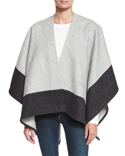Double-Face Colorblock Merino Wool Wrap, Gray