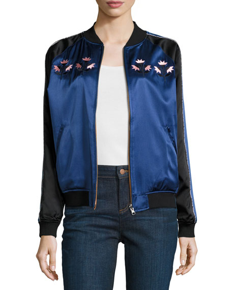 Reversible Silk Satin Bomber Jacket, Black/Blue/Multicolor