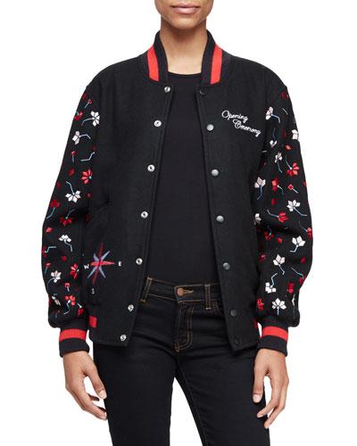Embroidered Varsity Jacket, Black