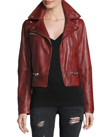 Lace-Up Leather Moto Jacket