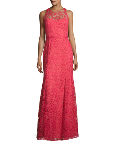 Marchesa Notte Sleeveless Beaded Lace Illusion Gown, Sienna