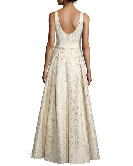 Sleeveless Scoop-Neck Embroidered Gown, Gold