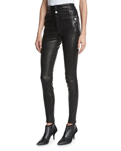 Natasha Sky High Leather Skinny Pants, Black