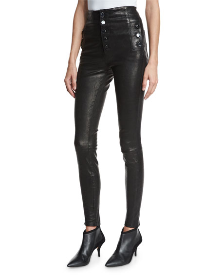 J Brand Natasha Sky High Leather Skinny Pants,