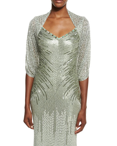 Eve Sequined Tulle Bolero, Azure