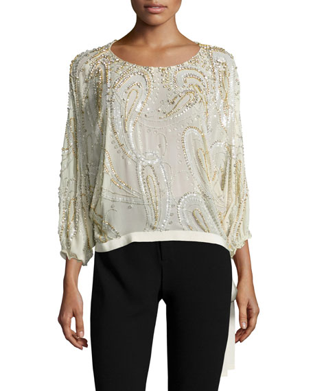 3/4-Sleeve Beaded Side-Tie Blouse, Glass