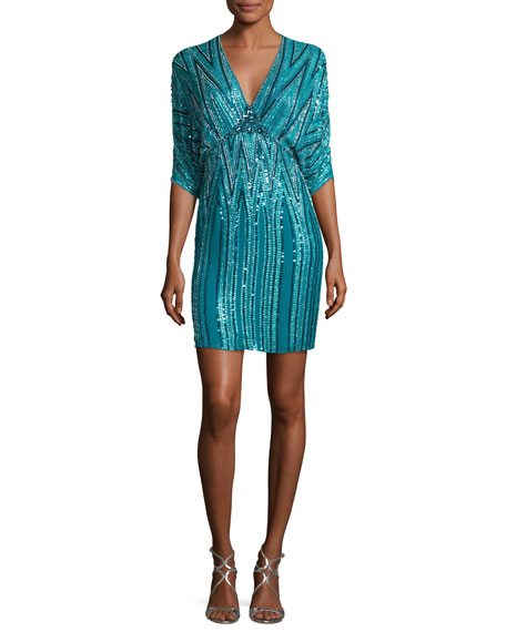 Jenny Packham Zigzag-Beaded Dolman Cocktail Dress, Emerald